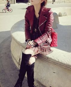 I love this sassy red leather jacket! Colored leathers are great for spring time, which is rapidly approaching.
