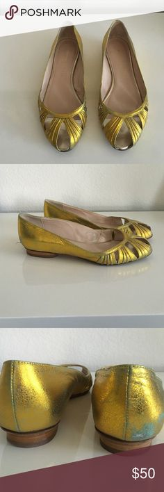 Loeffler Randall Cleo Kimono Flats Size 6 Leather peep toe flats. Color is gold with hints of blue-green. Worn a handful times. There is a scuff on the back of the right shoe (see pic #3). However, you can only see when you look at it closely. Shoes does not come with a box. No trades or Paypal. Loeffler Randall Shoes Flats & Loafers