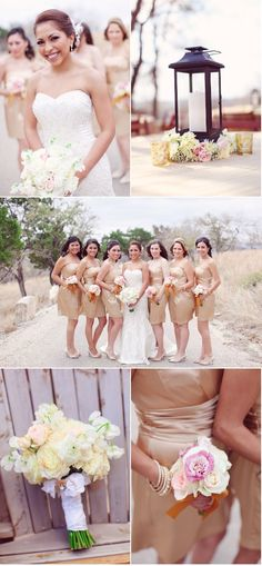 beautiful color scheme.  bridal bouquet is gorgeous! perfect size for the bridesmaid's flowers too