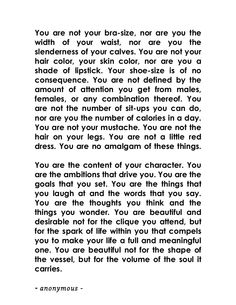 You Are Not Your Bra Size #quotes #poem #selfesteem