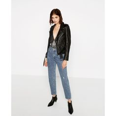 LEATHER JACKET - JACKETS-WOMAN-SALE | ZARA United States ($60) ❤ liked on Polyvore featuring outerwear, jackets, 100 leather jacket, white jacket, real leather jackets, genuine leather jackets and white leather jacket