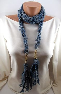 Fabric Necklace, Fabric Jewelry, Tassel Necklace, Denim Earrings, All Jeans, Denim Ideas, Diy Scarf, Denim Crafts, Denim Fashion