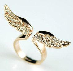 Angel Wing Ring - Rose Gold Austrian Crystal by PsychicSpiritReading on Etsy