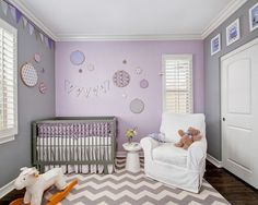 Gray walls with purple accent wall - Nursery