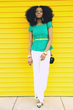 green lace yellow belt white slacks