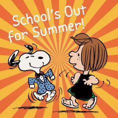 School's out for summer! Snoopy and Peppermint Patty. School's Out For Summer, Happy Summer, Summer Fun, Summer Breeze, I'm Happy, Summer Nights, Peanuts Cartoon, Peanuts Snoopy, Snoopy School