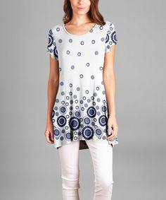 Look what I found on #zulily! Blue & White Geometric Tunic #zulilyfinds