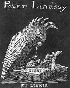Sir Lionel Lindsay (1874-1961), Australian / bookplate for Peter Lindsay ... depicts bird eating pages of an open book, design from NLA collection