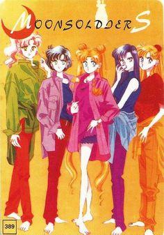 Moonsoldiers 389 ~ One of only two manga-style Moonsoldiers card: Kino Makoto; Mizuno Ami; Tsukino Usagi; Hino Rei; Aino Minako