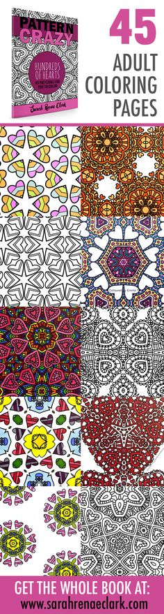 Printable Adult Coloring Book | Pattern Crazy: Hundreds of Hearts by Sarah Renae Clark | 45 patterns to color | Get it at www.sarahrenaeclark.com or on Amazon | adult coloring, coloring for adults, coloring for grown ups, coloring pages, printable colorin