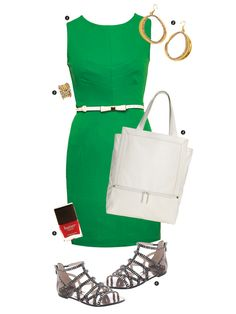 1. Dress in green by Darling, $95.70 at Salamander.  2. Hoop earrings in gold, $37.50 at Salamander.  3. Ring in gold, $15 at Bangles & Bags.  4. Nadia tote in white by BCBGeneration, $98 at Macy's.  5. Come to Bed Red by Butter London, $14 at Goldi.  6. Emera sandal in black by Vince Camuto, $98 at Boston Store