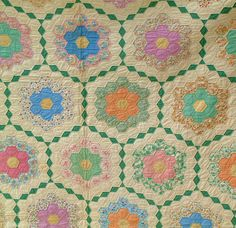 Antique Patchwork Quilt - Grandmother's Flower Garden. via pricemyitem.com