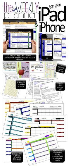 Teacher plan book / Teacher Planner. Digital and completely customizable. Use on Mac, iPad or even iPhone! Keep an entire year's worth of plans in ONE FILE. Now has 99 different planner templates. All common core standards for grades K-12. 8 different editable covers and auto-filling recording sheets. Newly added 18 single-subject planner templates geared toward high school and middle school teachers. Both Excel (for windows and Mac) and Numbers (for Mac and iPads/iPhones) versions available.
