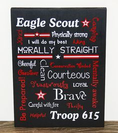 Woudn't this be a great Arrow of Light gift? Boy Scout / Eagle Scout Subway Art w/ Scout by RusticCabinStudio, $45.00