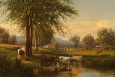 Joseph Antonio Hekking (1830-1903), Summer Landscape with Cows Watering, n.d., oil on canvas