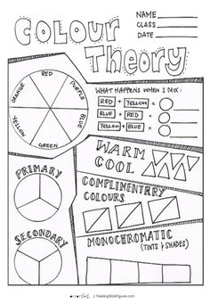 Colour Theory Review 1 - Activity Sheet   Teaching Resources