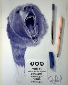 Got some good news. I'll share with you later.  [S10X20:07] #Drawing #Ink #Bear #Grizzly #rafaelxaugusto