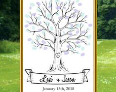 Wedding Tree Guest Sign in Fingerprint Fingerprint Tree Printable Wedding Tree Download Wedding Decor Wedding Sign in Instant Download,