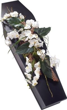 A white Phalaenopsis Orchid casket spray beautifully complemented with Anthurium leaves. Arrangements Funéraires, Orchid Flower Arrangements, Funeral Flower Arrangements, Funeral Flowers, Wedding Flowers, Casket Flowers, Funeral Caskets, Funeral Sprays, Casket Sprays