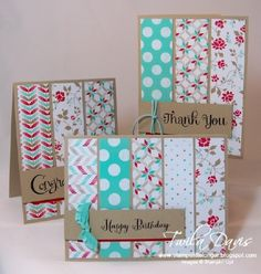 handmade notecard set ... Fresh Prints Card Set by Twila J Davis ... kraft base ... wide strips of patterned paper fill the fronts ...  Stampin' Up!