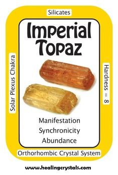 """Imperial Topaz, """"I express gratitude for the good fortune in my life.""""  Also known as Gold Topaz, It can help to determine and direct one's intent appropriately for manifestation, without interfering with the desires of others. A """"stone of good fortune,""""  bringing prosperity and abundance to the wearer, by clearing away blockages that inhibit the vibrations of one's intention.  HCPIN10 =  10% off…"""