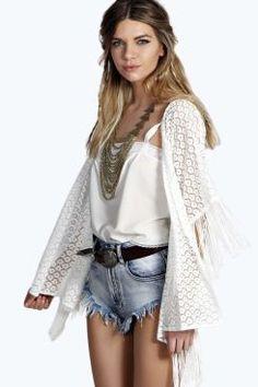 Jessica Tassel Trim Lace Kimono