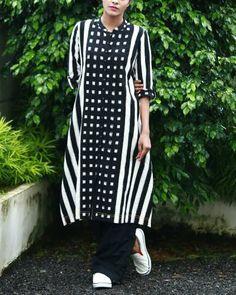 Black And White Ikat Kurta I Shop at :http://www.thesecretlabel.com/shalini-james