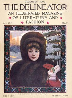 A beautiful Christmas themed front cover for the The Delineator magazine, December 1903.