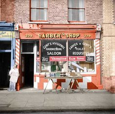 Barber's shop on Roman Road, Bow, London in the It is still a barbers more than 60 years late Vaseline Hair Tonic, Roman Roads, Shop Fronts, Barbershop, Hairdresser, 1950s, Bow, London, Business