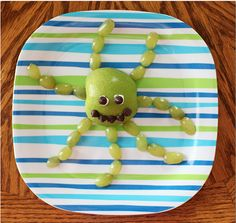 Octoapple: Slice some grapes and an apple into the shape of a sea creature.  Source: The Southern Housewife