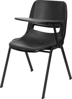 Black Ergonomic Shell Chair w Left Handed Flip-Up Tablet Arm