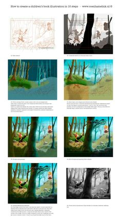 Here's an example how to create a children's book illustration in Photoshop from small thumbs sketches to the final color version. I left ou...