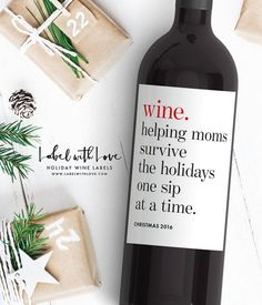 Holiday Wine Label Collection, Christmas Wine Label 4 Pack, Funny Christmas Gift for Mom, Winter Baby Shower Gift, New Mom Life Gift Idea - My Winter Break 2020 Christmas Wine, Christmas Gifts For Mom, Green Christmas, Christmas 2016, Holiday Gift Guide, Holiday Gifts, Holiday Ideas, Wine Tags, Love Holidays