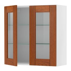 """AKURUM Wall cabinet with 2 glass doors IKEA Adjustable shelf; adapt spacing to your own storage needs. Sturdy frame construction, 3/4"""" thick."""