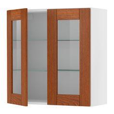 Akurum Wall Cabinet With 2 Glass Doors Ikea Adjustable Shelf Adapt Spacing To Your Own