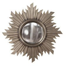 Convex Sunburst Wall Mirror Brushed Aged Silver Nickel w/ Gold Hues Large 21
