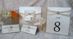 Ritz, rhinestone pocketfold wedding invitation