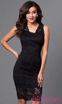 Lace Knee Length V-Neck Dress at PromGirl.com