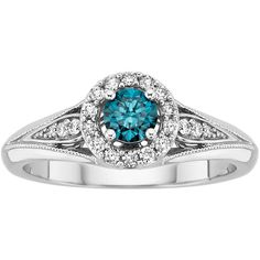 1/2 ct. tw. Blue and White Diamond Engagement Ring in 10K White Gold ($725) ❤ liked on Polyvore featuring jewelry, rings, blue, diamond band ring, band engagement rings, round engagement rings, blue ring and enhancer ring