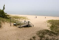 Stairs lead to the Whitefish Dunes Beach on Lake Michigan, Wisconsin.
