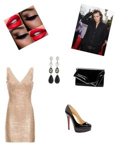 """""""Arriving at London Fashion Week with Harry"""" by haybeebaby on Polyvore featuring Hervé Léger, Christian Louboutin and Oscar de la Renta"""