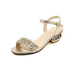 Womens Gold Gemstone Jewelled Rhinestone Sandals