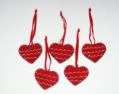 Felt Christmas Embroidery Heart, Christmas Ornament, Set Of 5, %100 wool, For Christmas Tree, Holiday Decor, House Decorations, Gift Idea ~ $5.50 USD