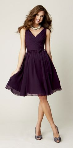 Kennedy Blue Chloe is a flattering chiffon knee length bridesmaid dress that suits every figure.
