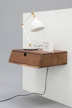 table de chevet suspendue au design scandinave, lampe de chevet à bars articulé et peinture grise