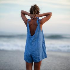 Drifter Linen Jumpsuit - Ocean Blue