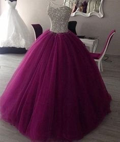 Sweetheart neck tulle burgundy prom dress, evening gown, sweet 16 dress