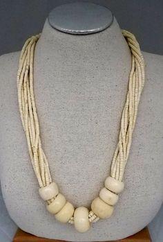 Vtg 1980s Chunky Lrg Multi Strand Heishi Disc Bead Authentic Cow Bone Necklace #NotSigned #Tribal