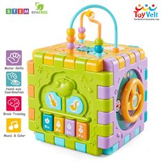 ToyVelt Activity Cube for Toddlers Baby Educational Musical Toy for Kids - Early Development Learning Toys with 6 Different Activities - Best Gift for Children 1 2 3 Years Old, Toddler Toys, Baby Toys, Kids Toys, Activity Cube, Activity Toys, Musical Toys For Kids, Online Books For Kids, Cube Toy, Infant Activities