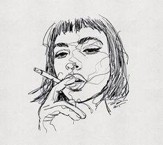 art, noir et blanc, cigarette, dessin, sourcils